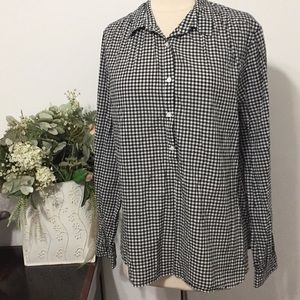 ⭐️J.CREW Black/White Plaid/Longsleeves Top/Size 16